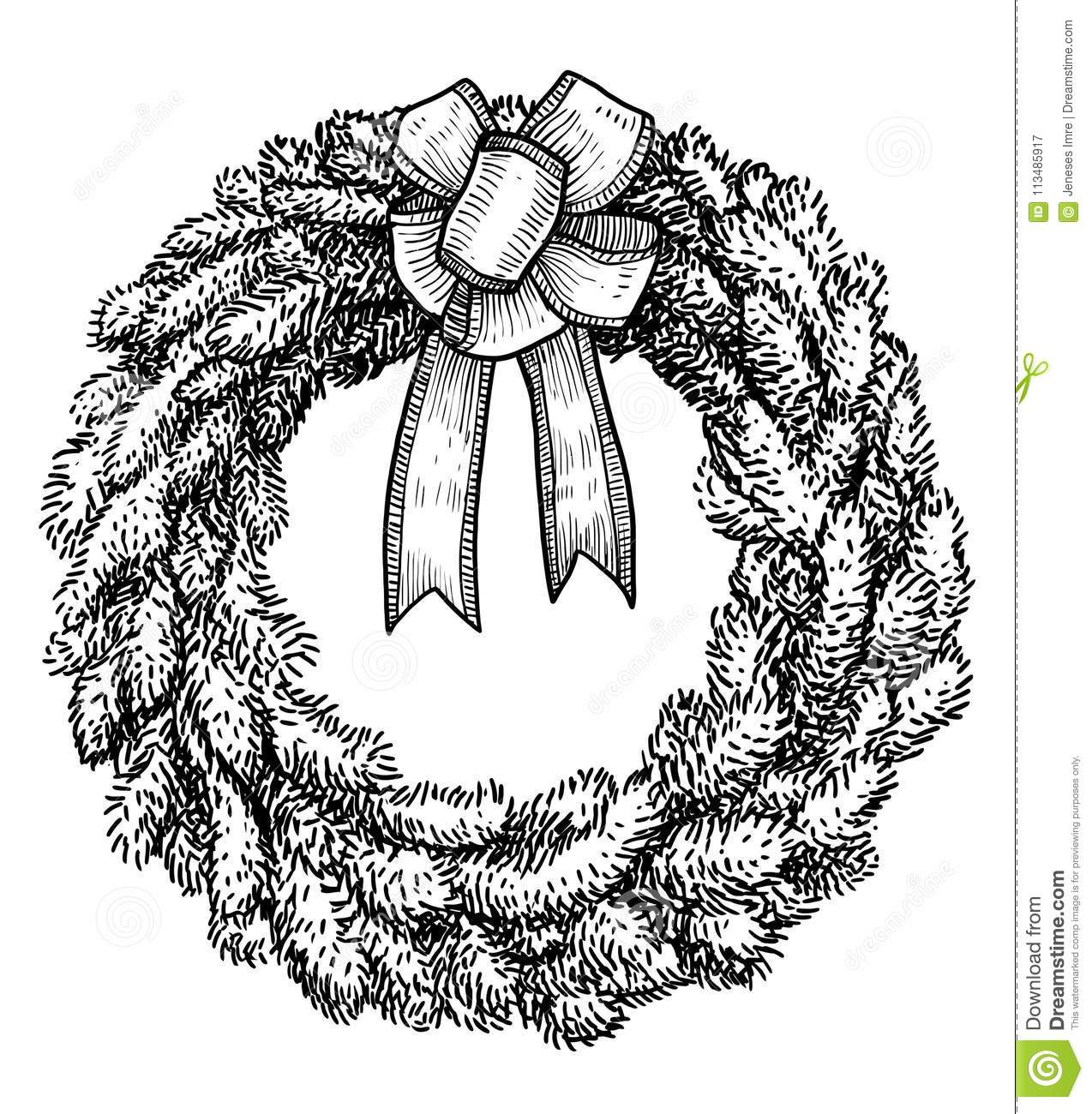Christmas Garland Drawing.Christmas Wreath Illustration Drawing Engraving Ink Line