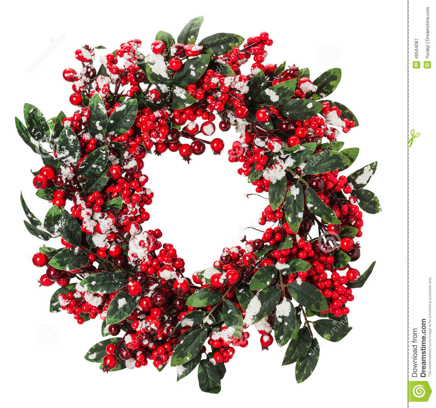 Christmas wreath isolated on the white background stock