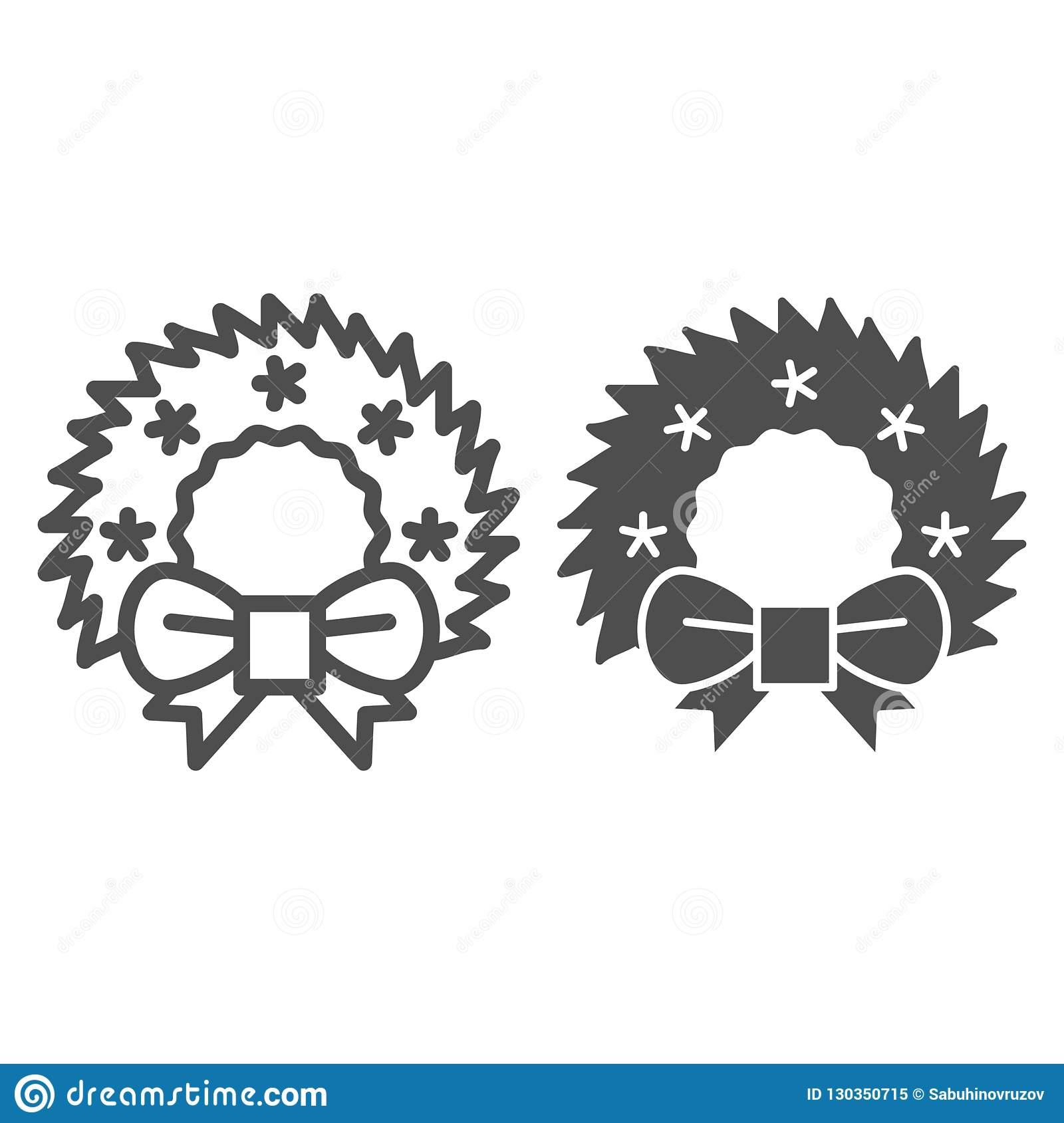 Christmas Wreath Line And Glyph Icon Cristmas Decoration Vector
