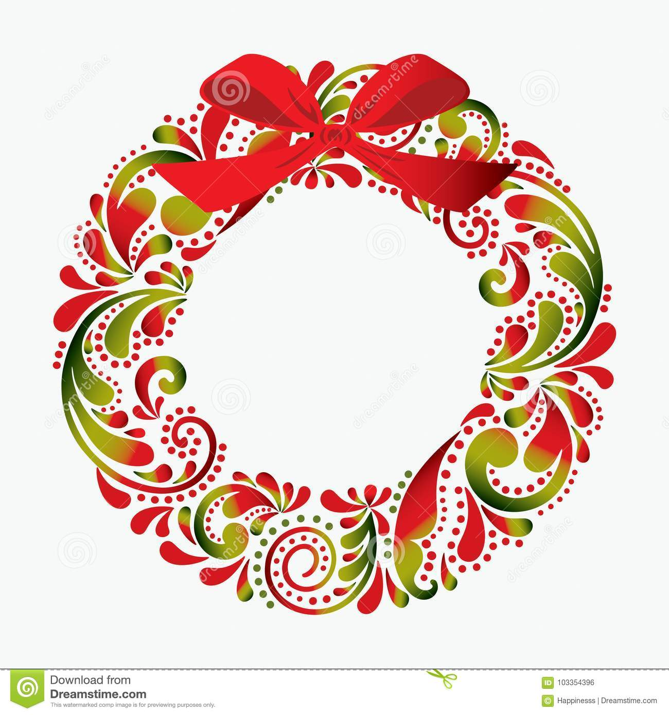 Christmas Wreath Made From A Flower Pattern  Print  Isolated Obj
