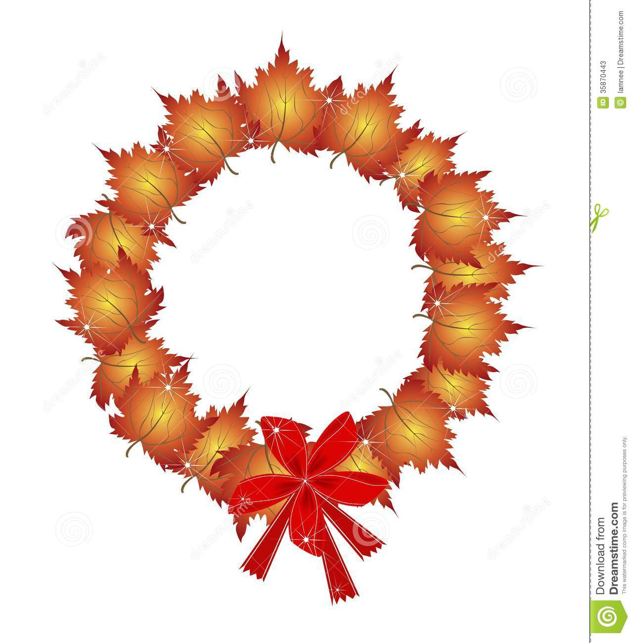 Christmas Wreath Of Orange Maple Leaves And Bows Stock
