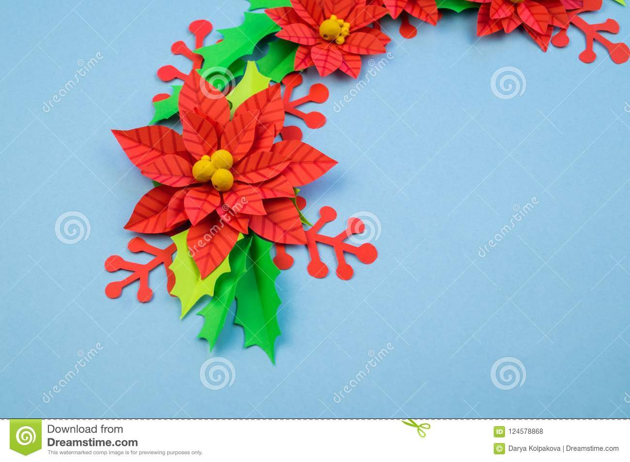 Christmas Wreath Of Paper Flowers Poinsettia Stock Photo Image Of