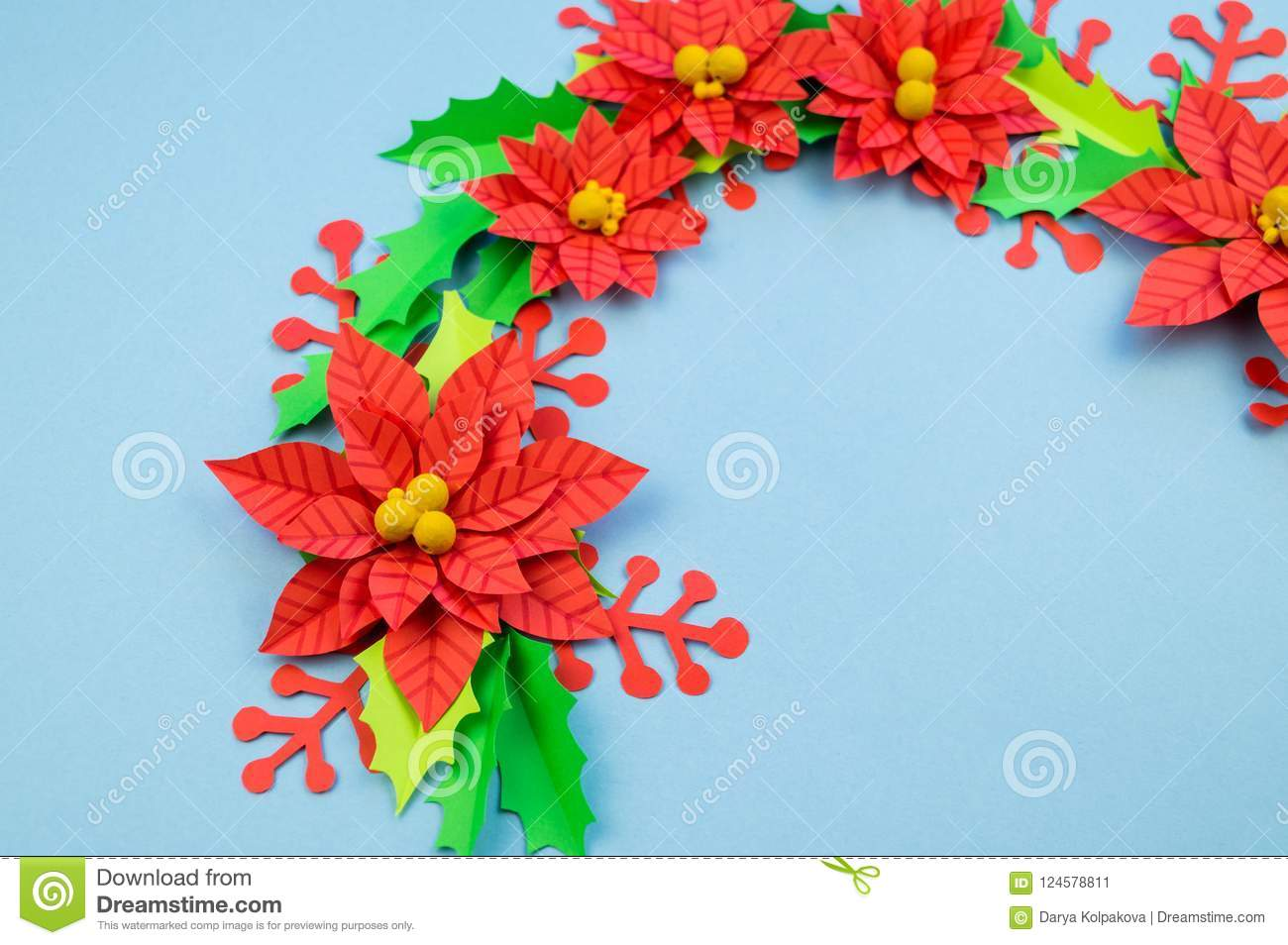 Christmas Wreath Of Paper Flowers Poinsettia Stock Image Image Of