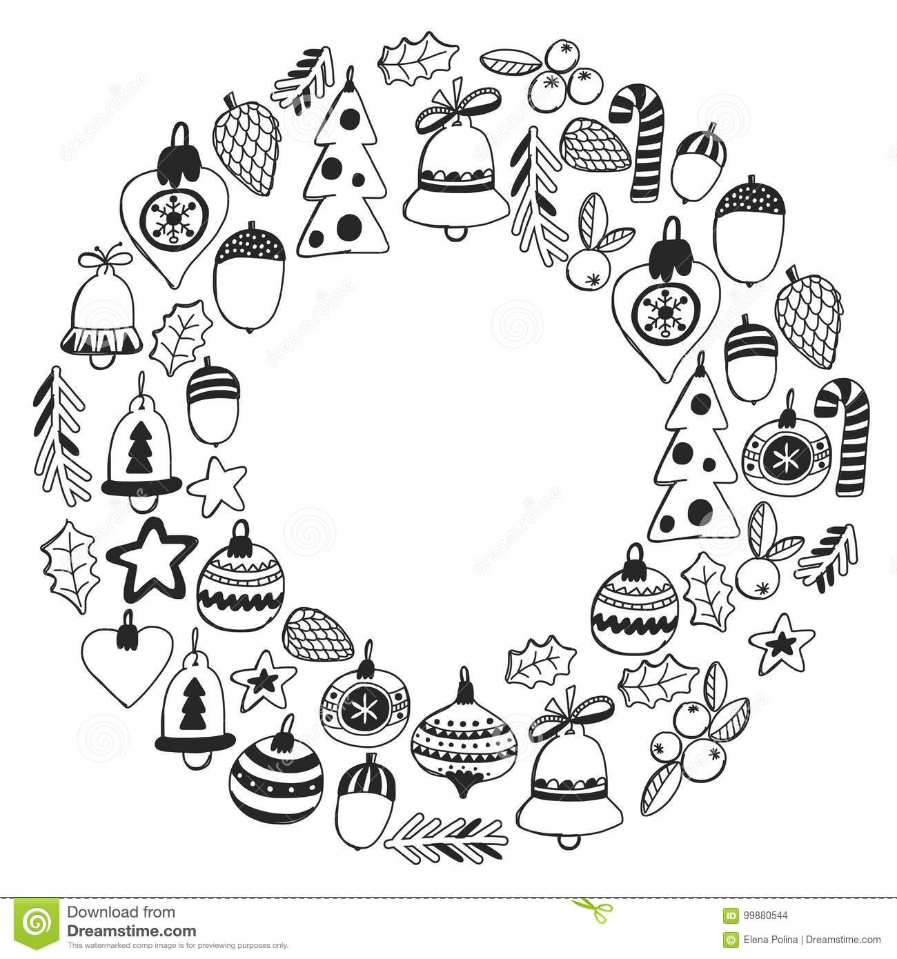 Christmas Wreath Pattern For Coloring Book Frame Wth ...