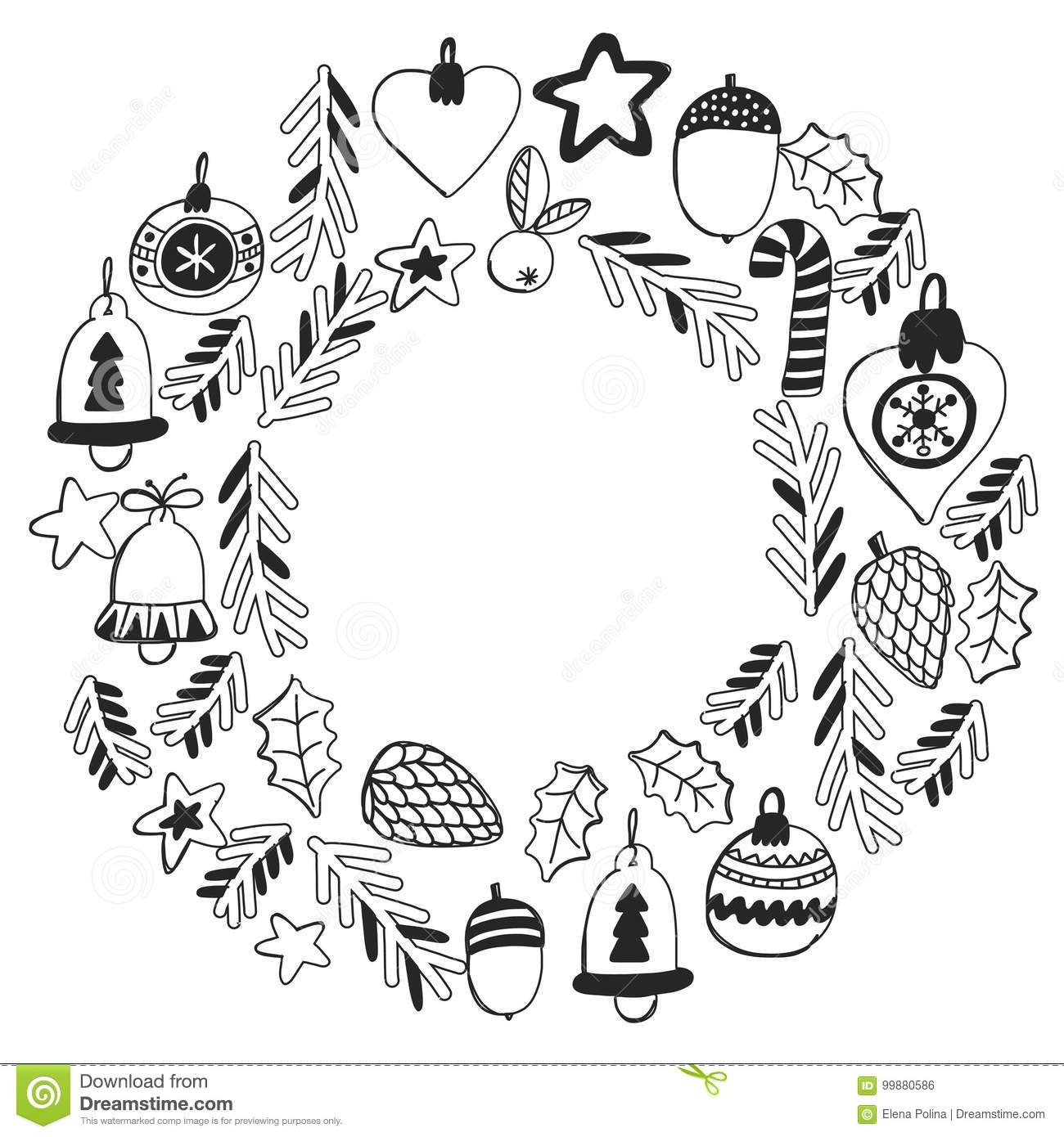 christmas wreath pattern for coloring book frame wth christmas