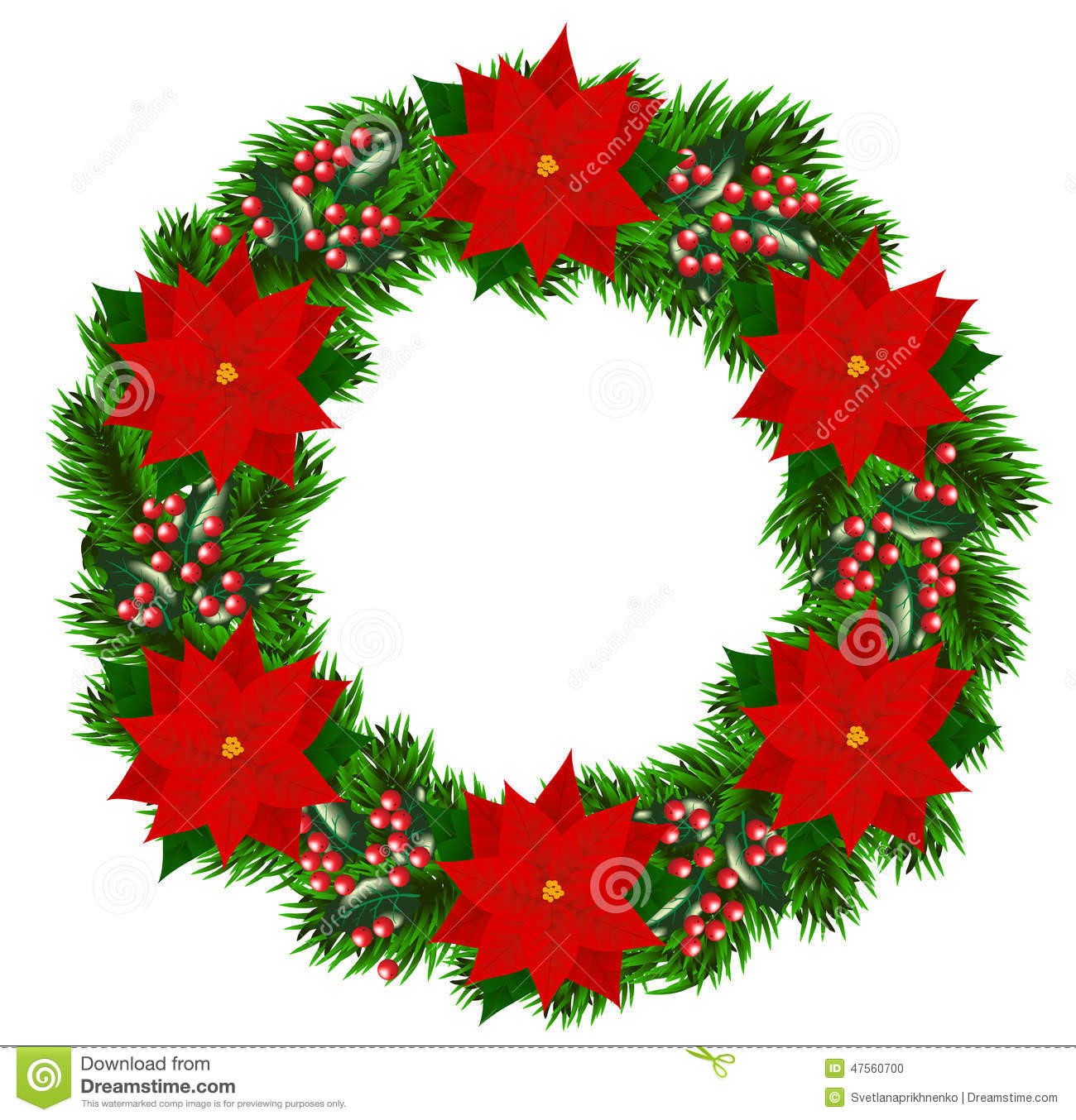Christmas wreath with poinsettia stock vector for 5ft poinsettia garland christmas decoration