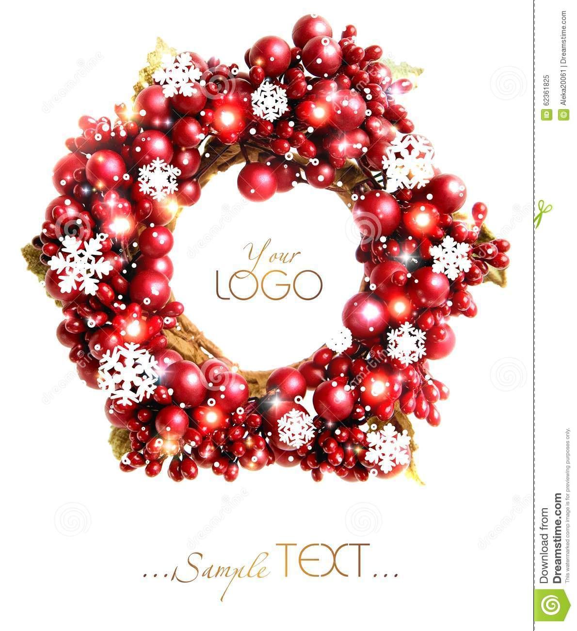 Christmas wreath from red berries isolated.