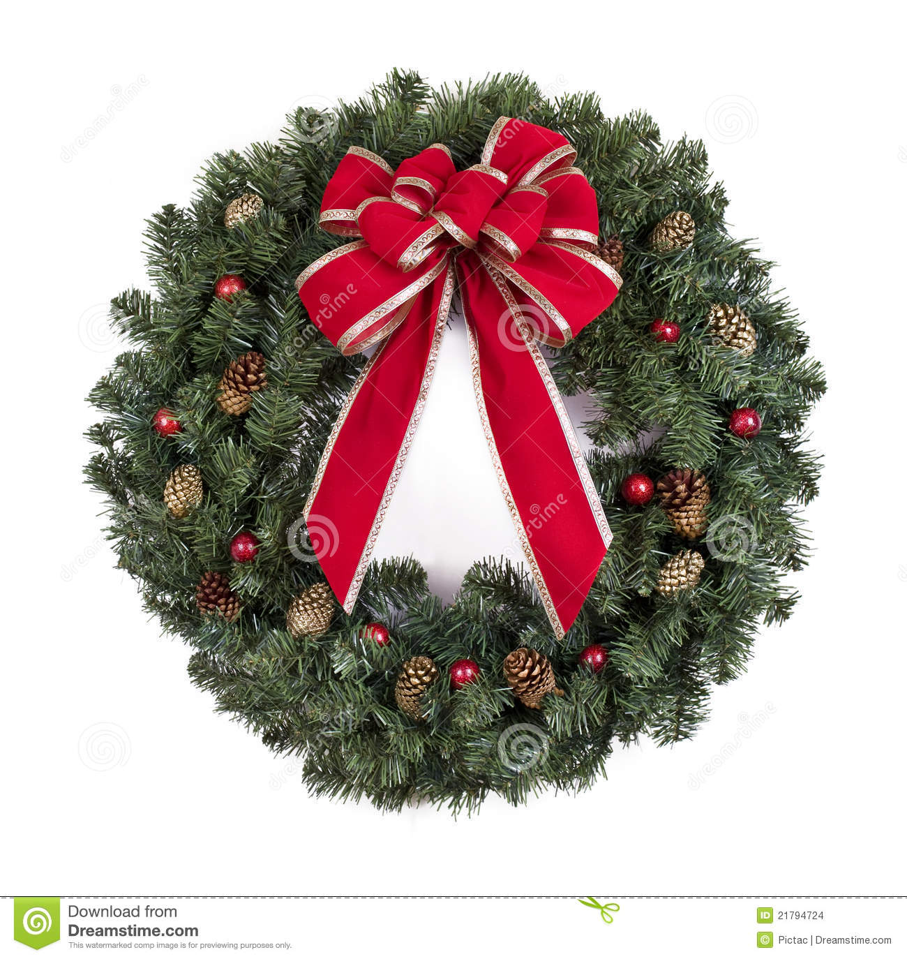 Christmas wreath with red bow stock photo image of