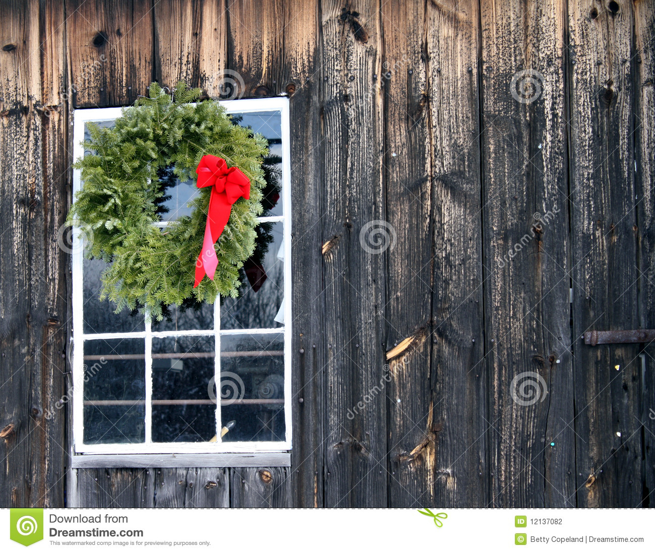 Christmas Wreath With Red Bow On Barn Stock Photo Image