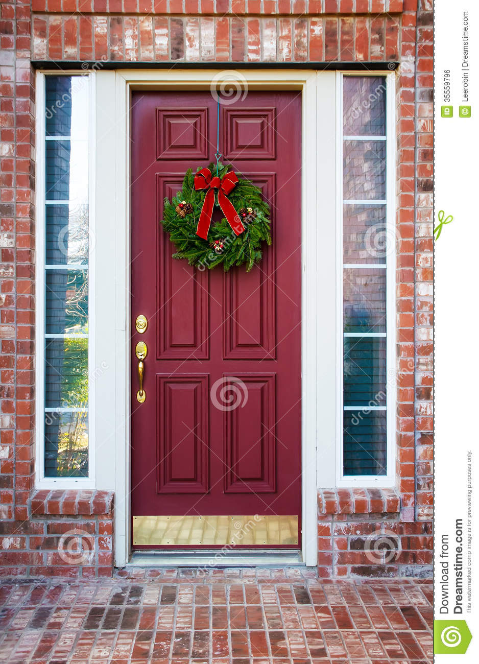 Christmas Wreath On A Red Door Stock Photo Image Of