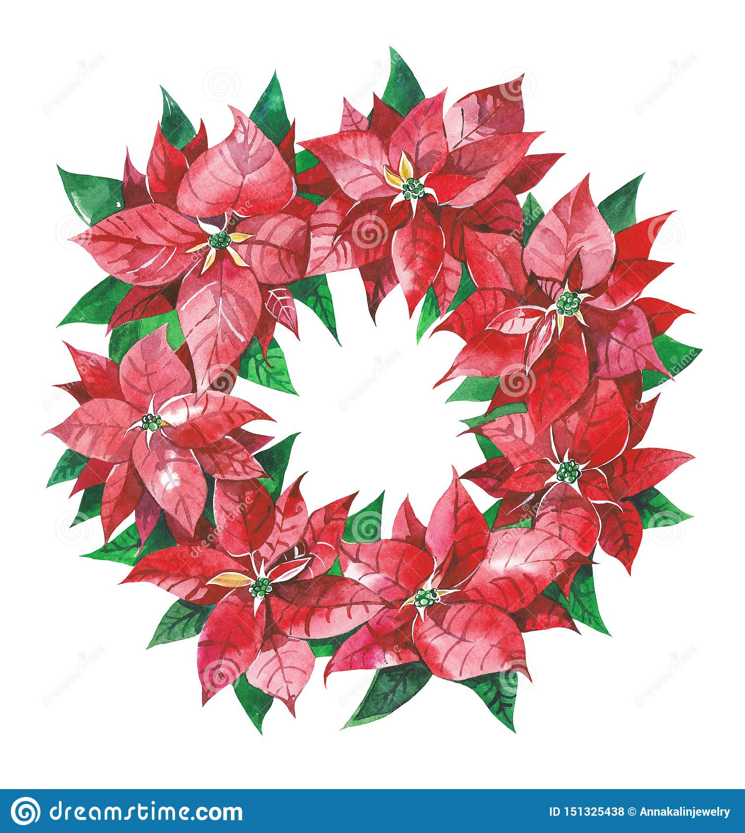 Christmas wreath with red poinsettia flowers.