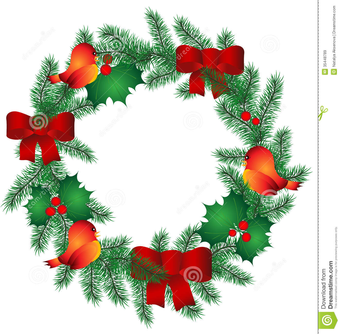 Christmas Wreath With Birds Stock Vector - Image: 46474292