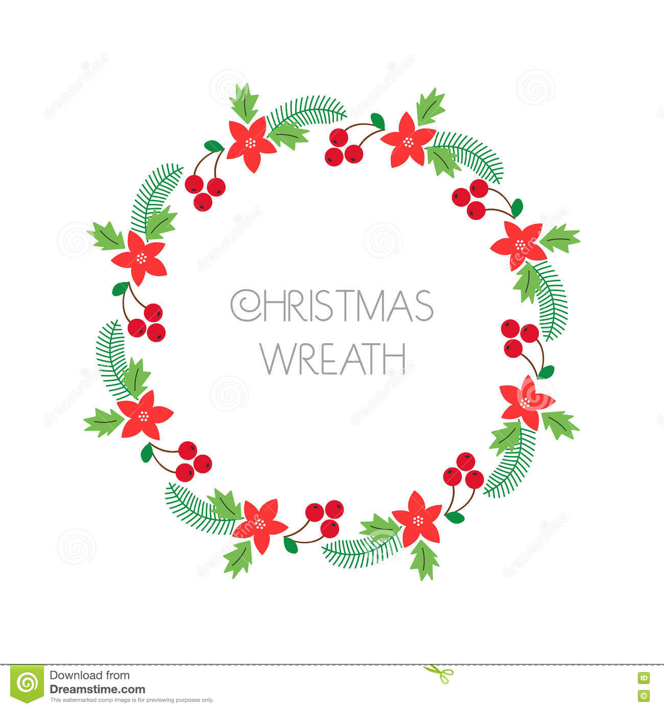 Christmas Wreath With Rowanberry,fir Branches, Poinsettia. Round ...