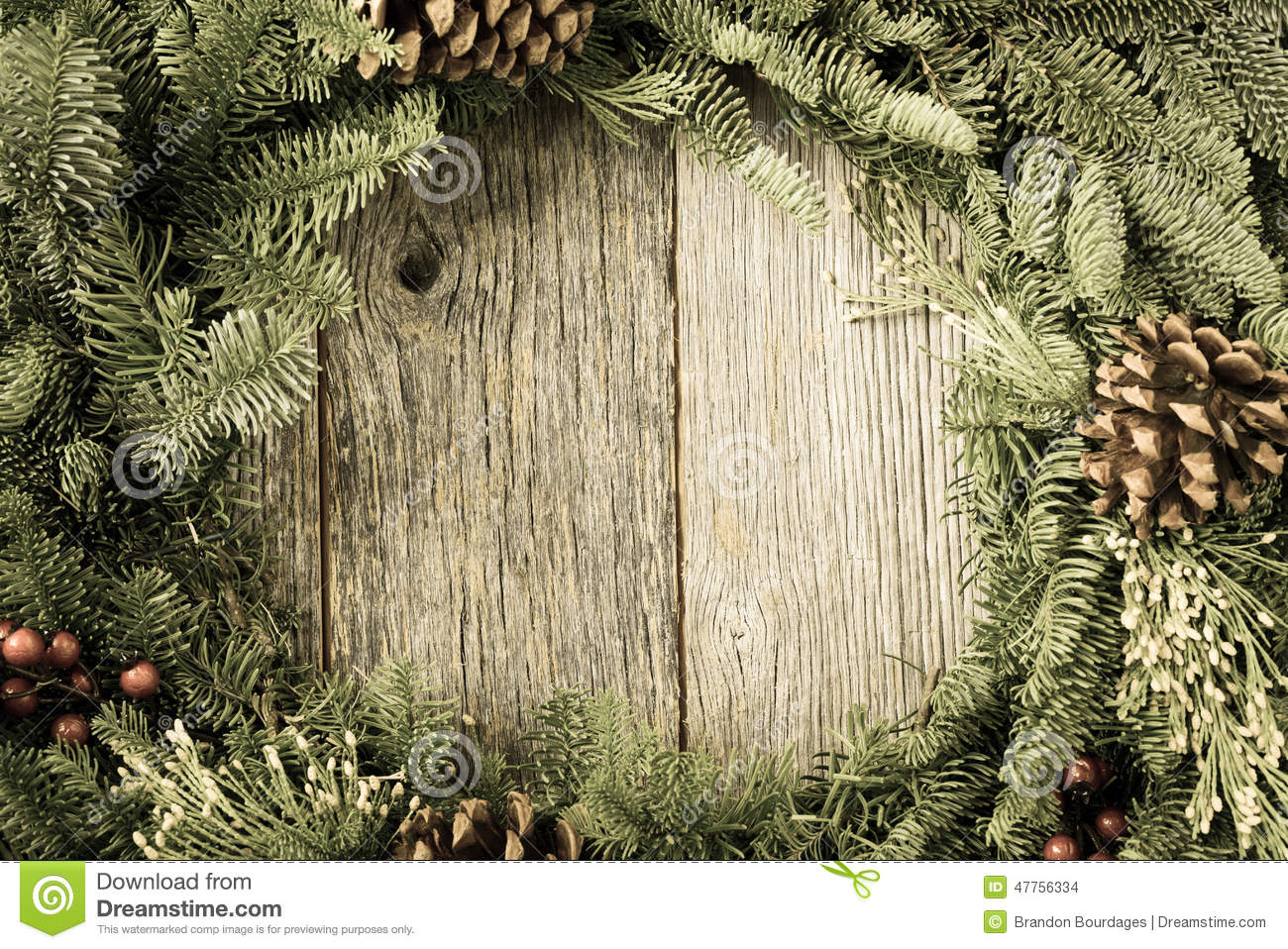 Christmas Wreath With Rustic Wood Stock Photo Image Of Text