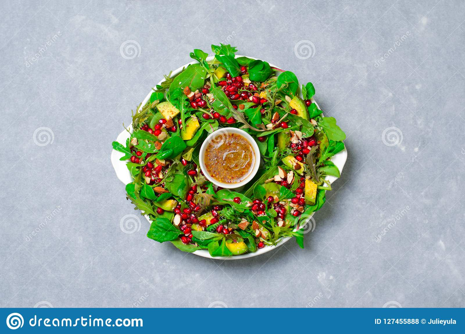 Christmas Wreath Salad with Pomegranate, Avocado, Salad Mix, Almond and Honey-Mustard Dressing, Healthy Eating