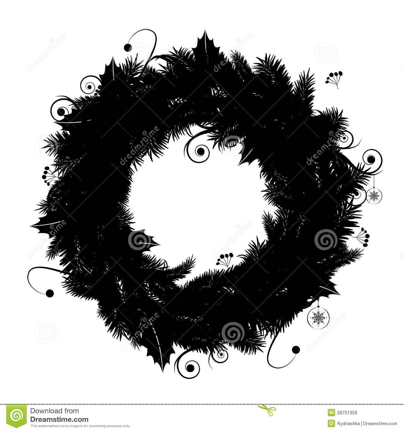 Christmas Wreath Silhouette Free.Christmas Wreath Silhouette For Your Design Stock Vector