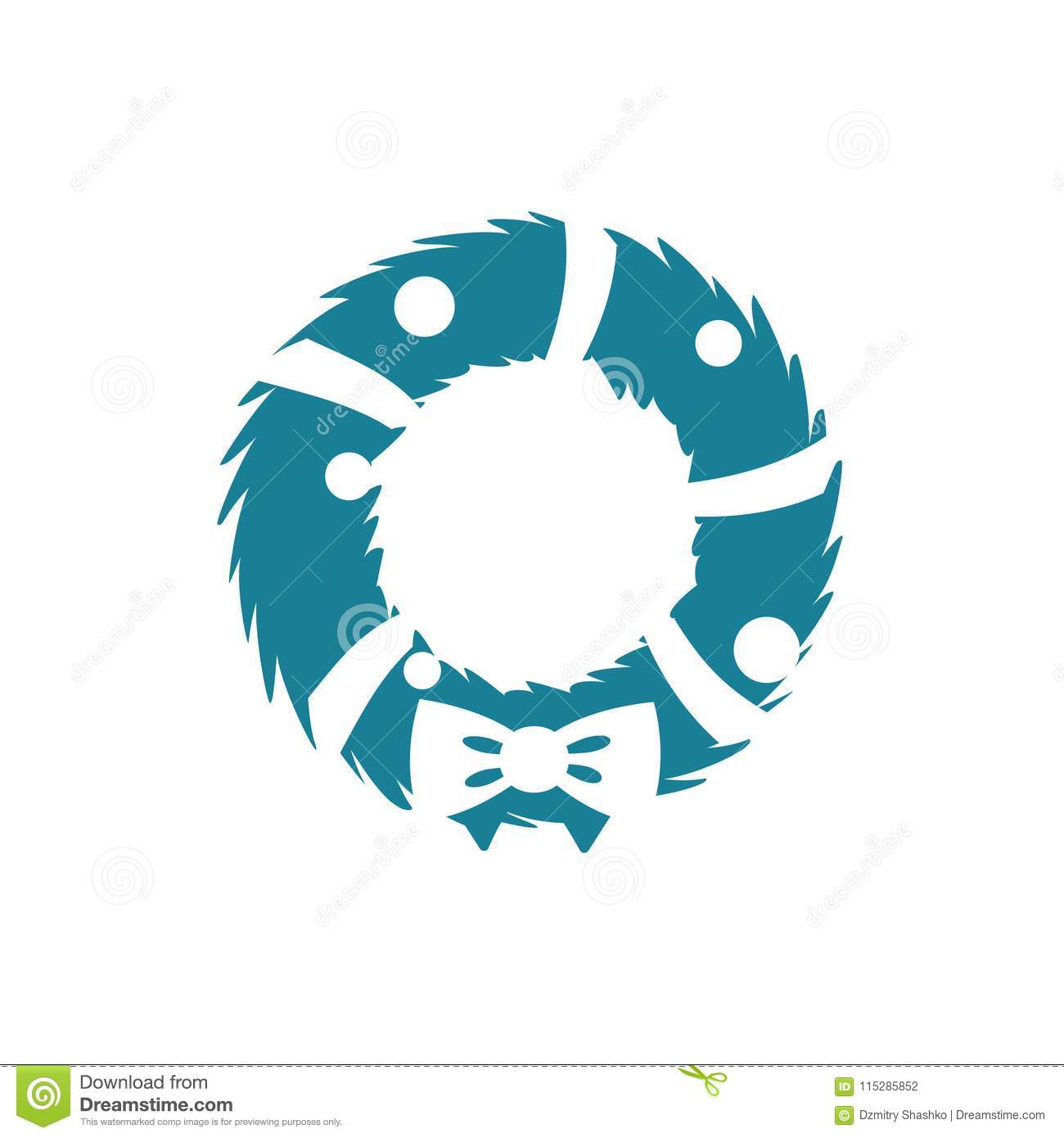 Christmas Wreath Silhouette Vector.Christmas Wreath Simple Icon Stock Vector Illustration Of