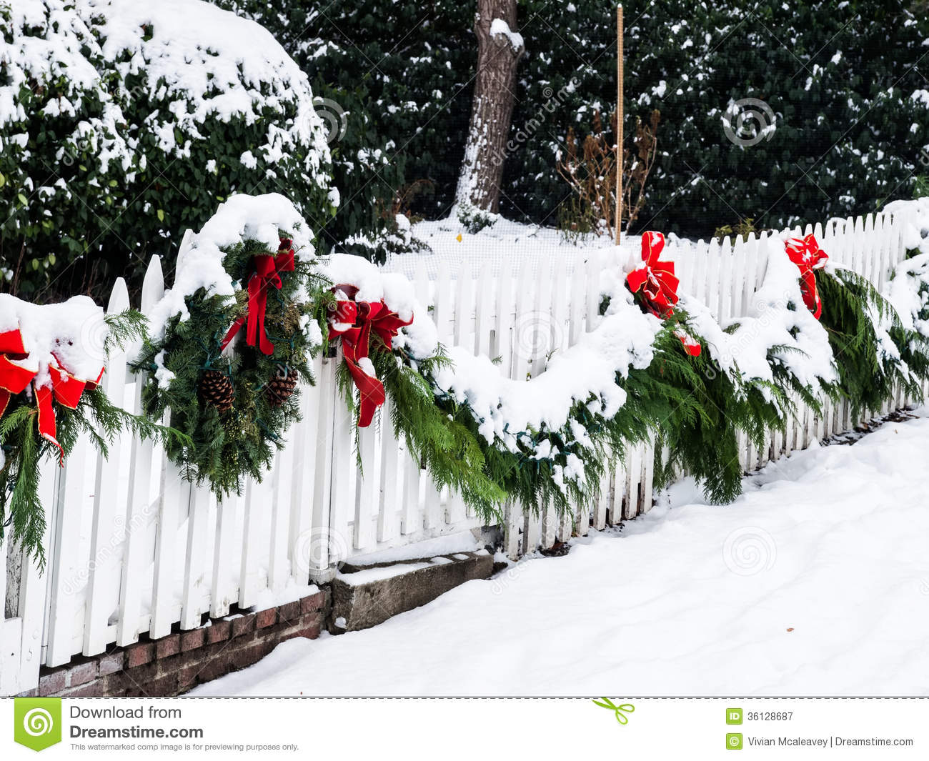 Christmas Wreath In Snow Stock Image Image Of Frost