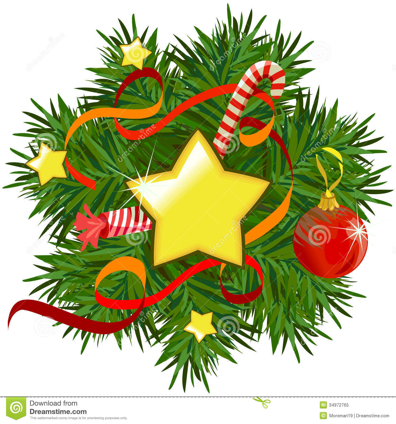 Christmas Wreath With Stars And Decorations Royalty Free