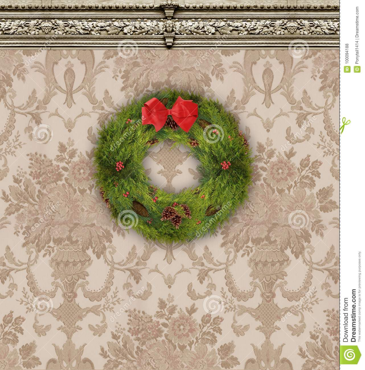 Christmas Wreath on Tan Damask Wallpaper With Ornate Molding
