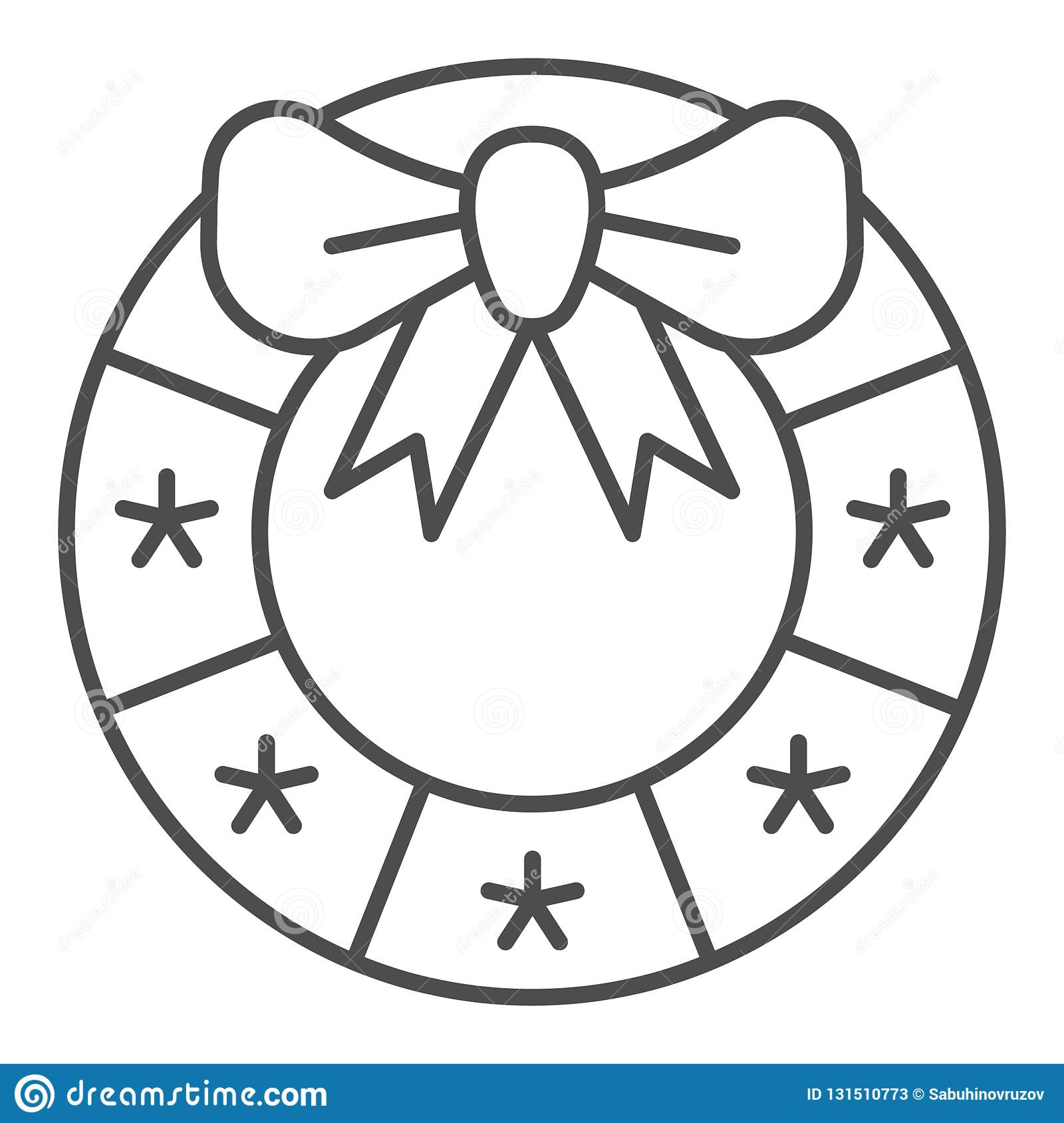 Christmas Wreath Thin Line Icon Xmas Decoration Vector Illustration