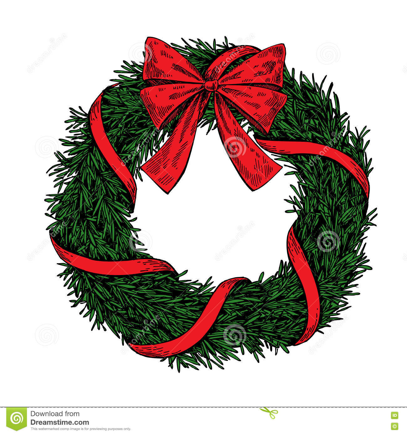 Christmas Wreath Vector.Christmas Wreath Vector Hand Drawn Illustration With Fir