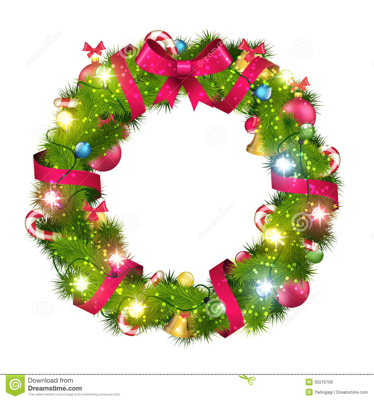 Christmas Wreath Vector.Christmas Wreath Stock Vector Illustration Of White 35510700