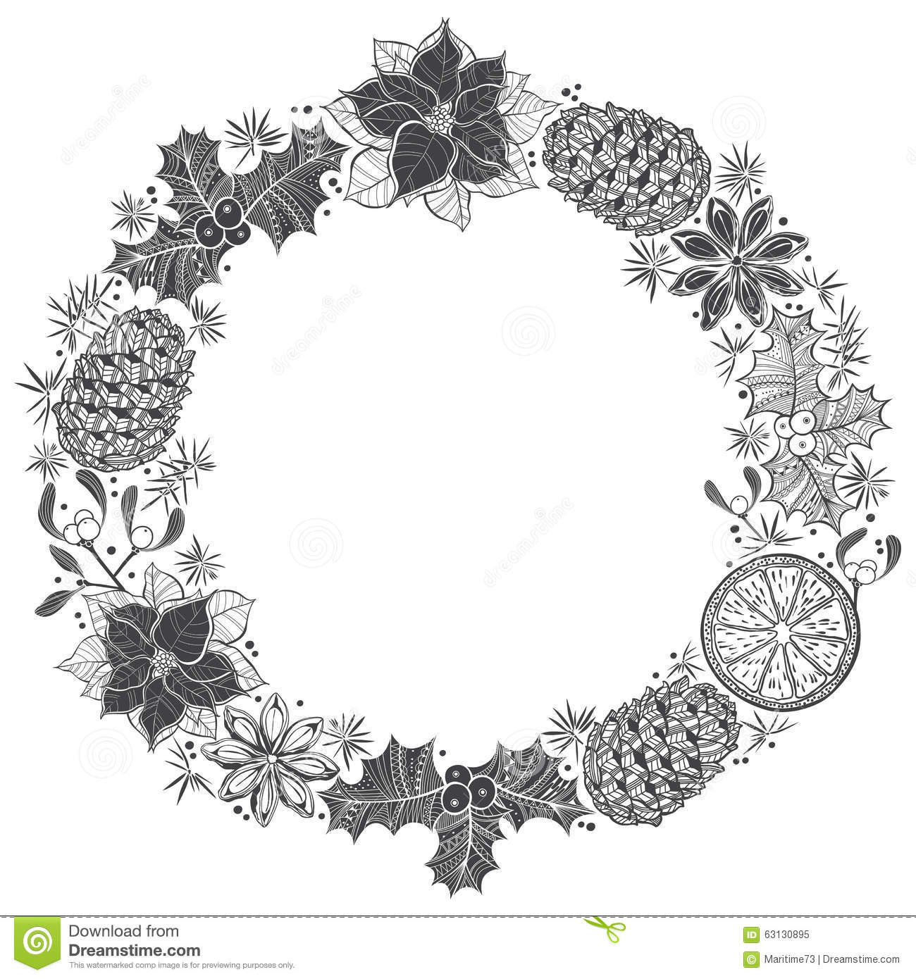 Christmas Wreath. Vector Illustration With Space For Text ...