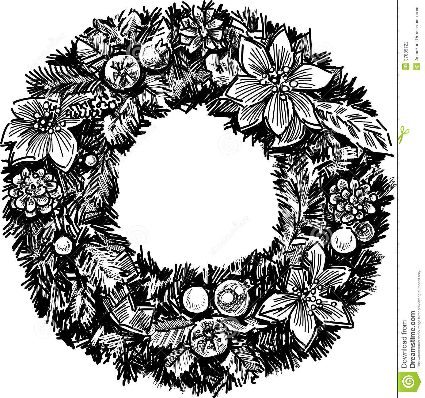 Christmas wreath stock vector. Illustration of graphical - 37885722