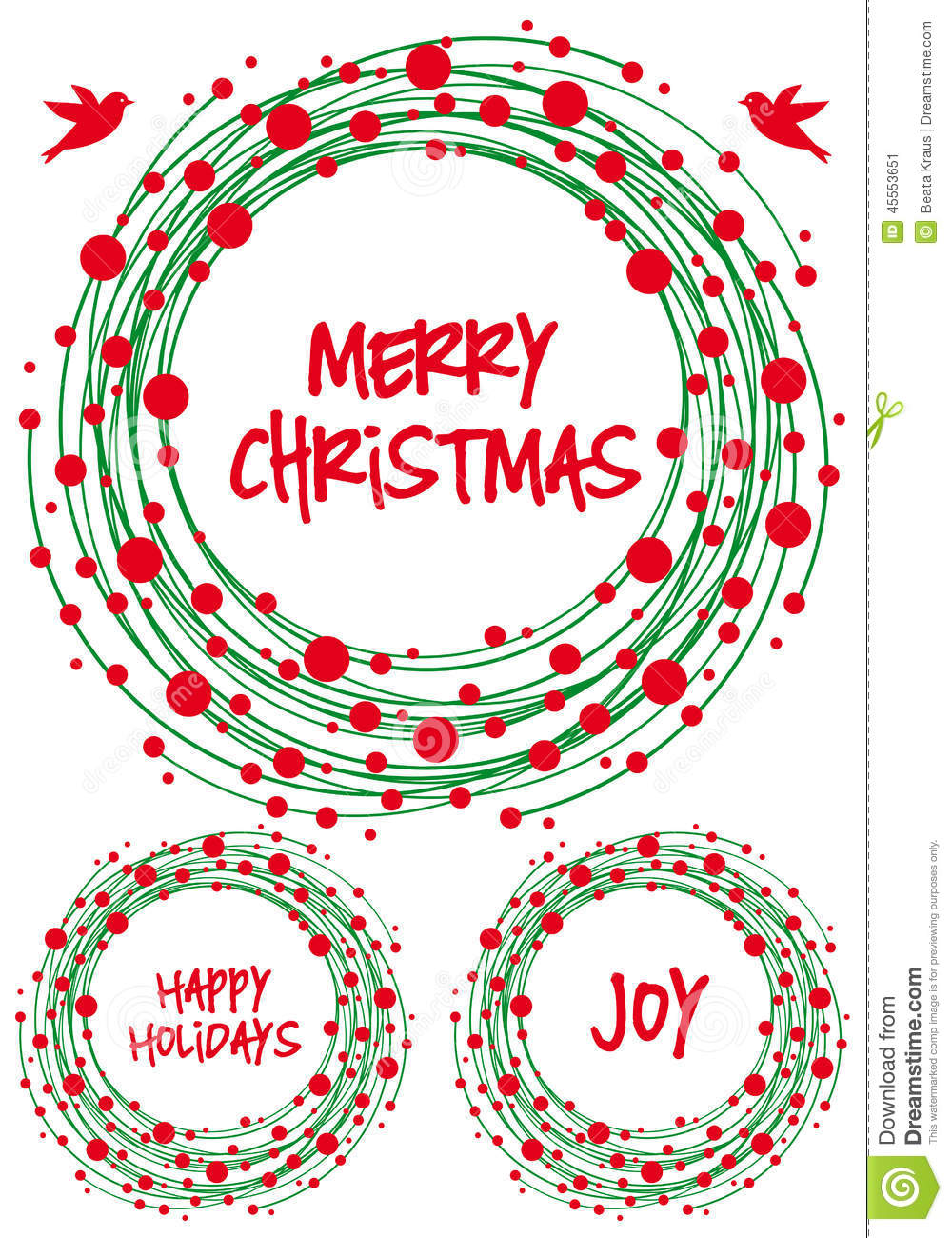 Christmas Wreath, Vector Set Stock Vector - Image: 45553651