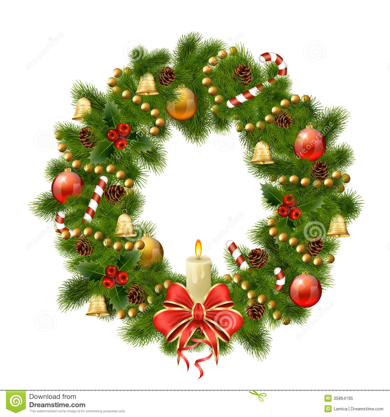 Christmas Wreath On White Background. Xmas Decorations Stock Vector ...