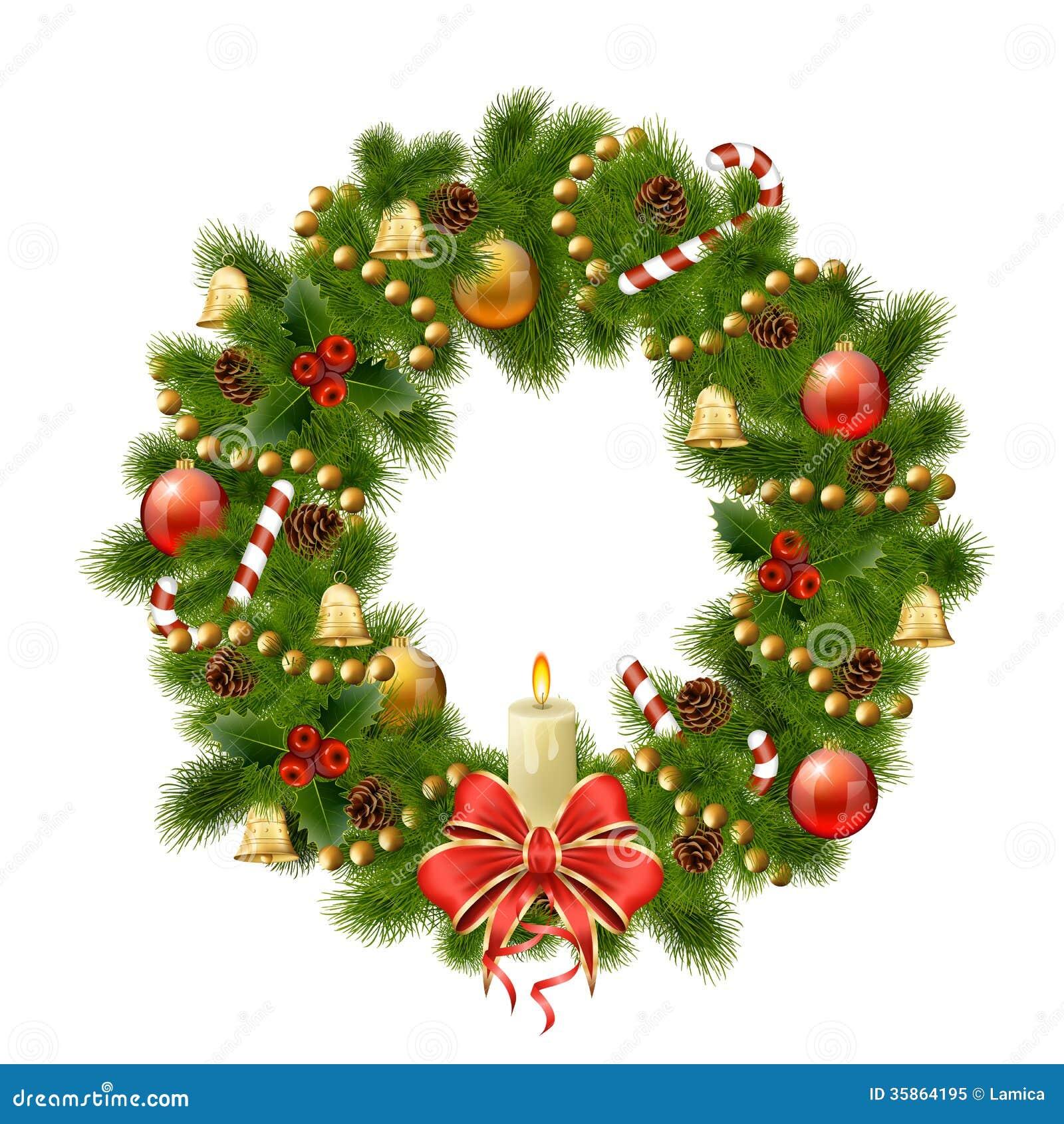 Christmas wreath on white background. Xmas decorations. Vector eps10 ...