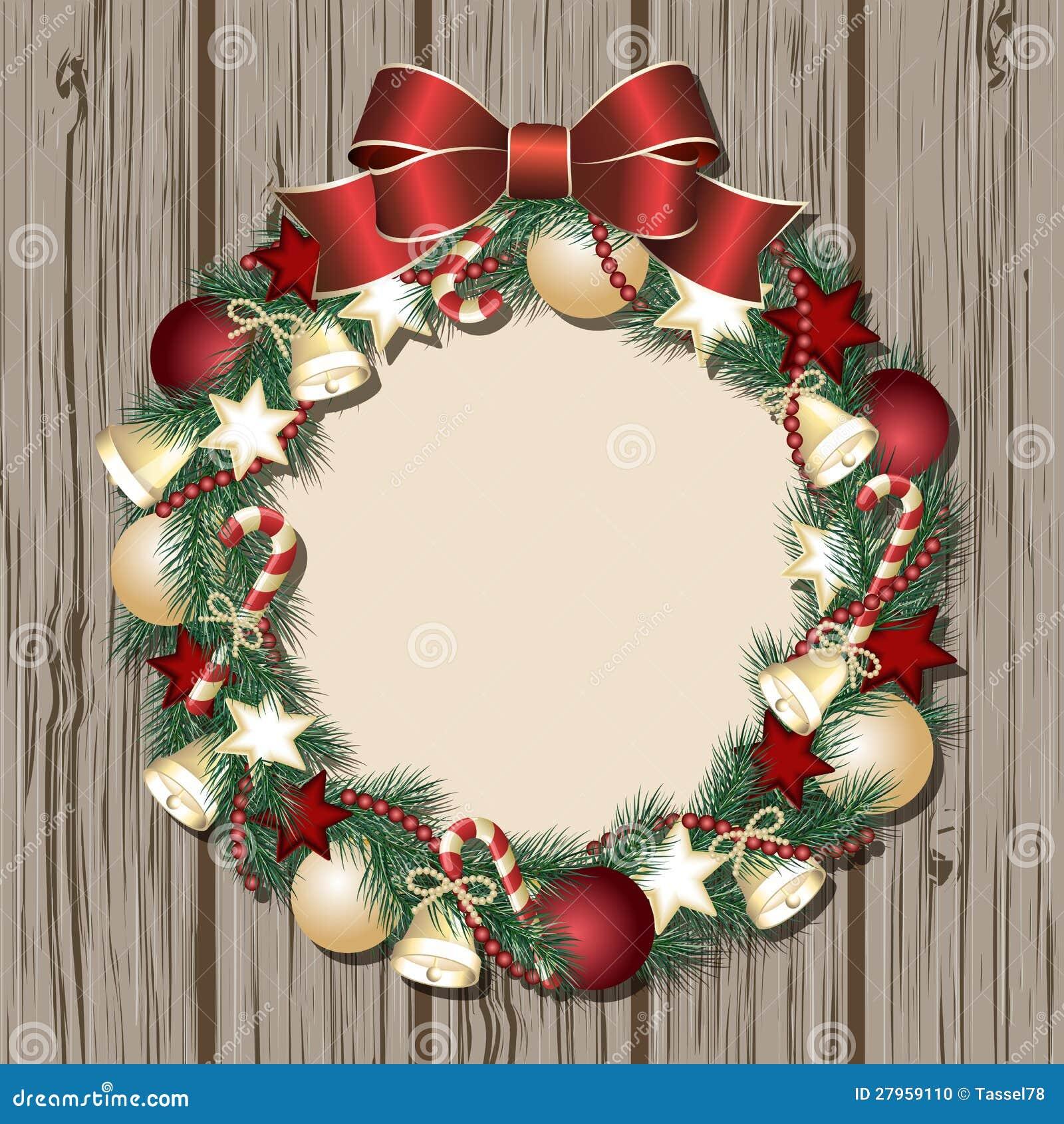 Christmas wreath on wooden door stock vector