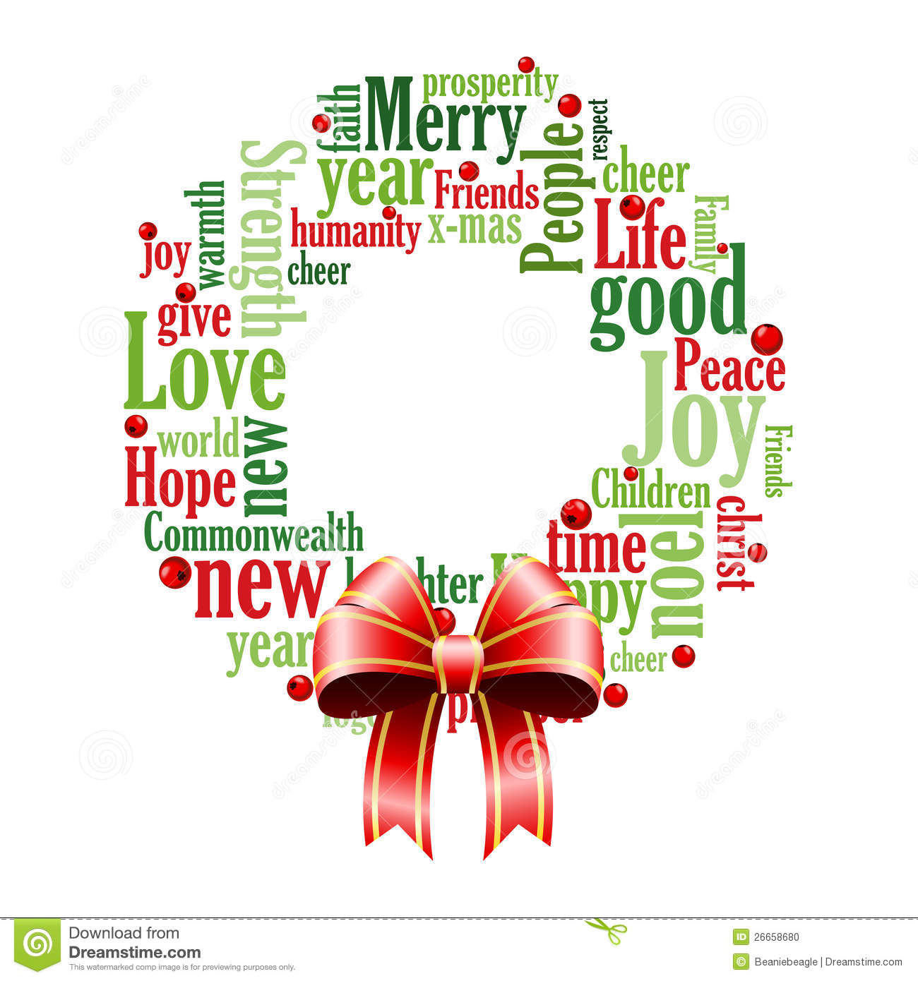 Christmas Words.Christmas Wreath Of Words Stock Vector Illustration Of