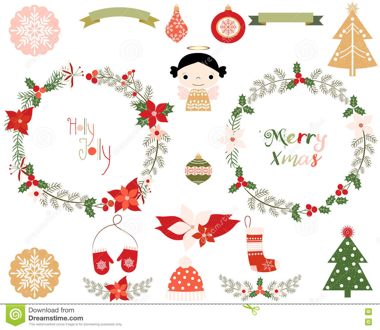 Christmas Wreaths And Design Elements Stock Vector - Illustration of ...