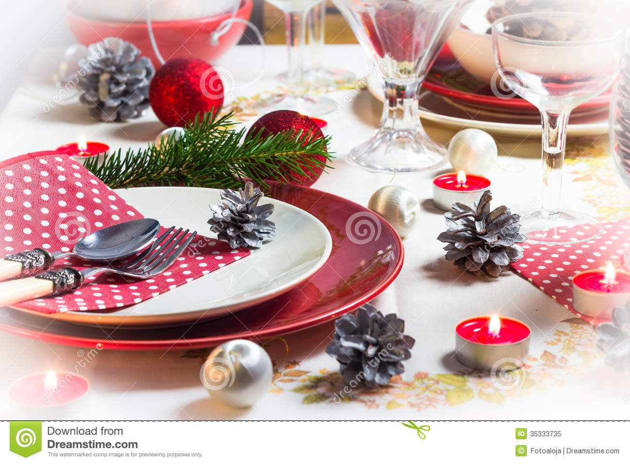 christmas xmas eve table setting supper royalty free stock