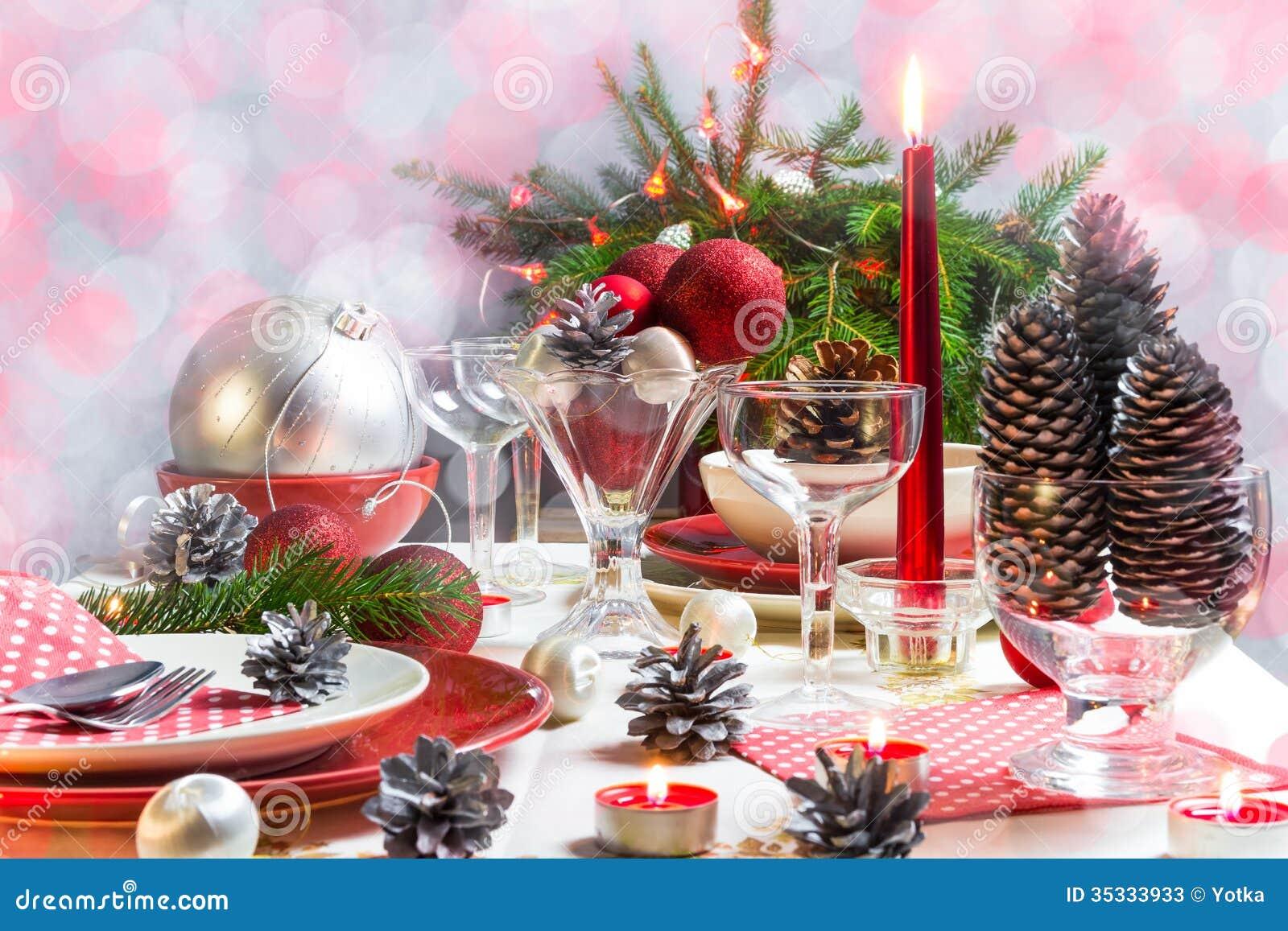 Christmas Xmas Eve Table Setting Supper Stock Photos