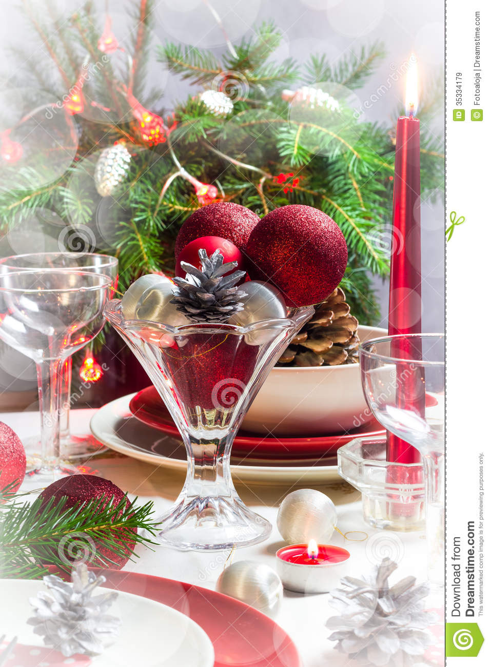 Christmas Xmas Eve Table Setting Supper Stock Image