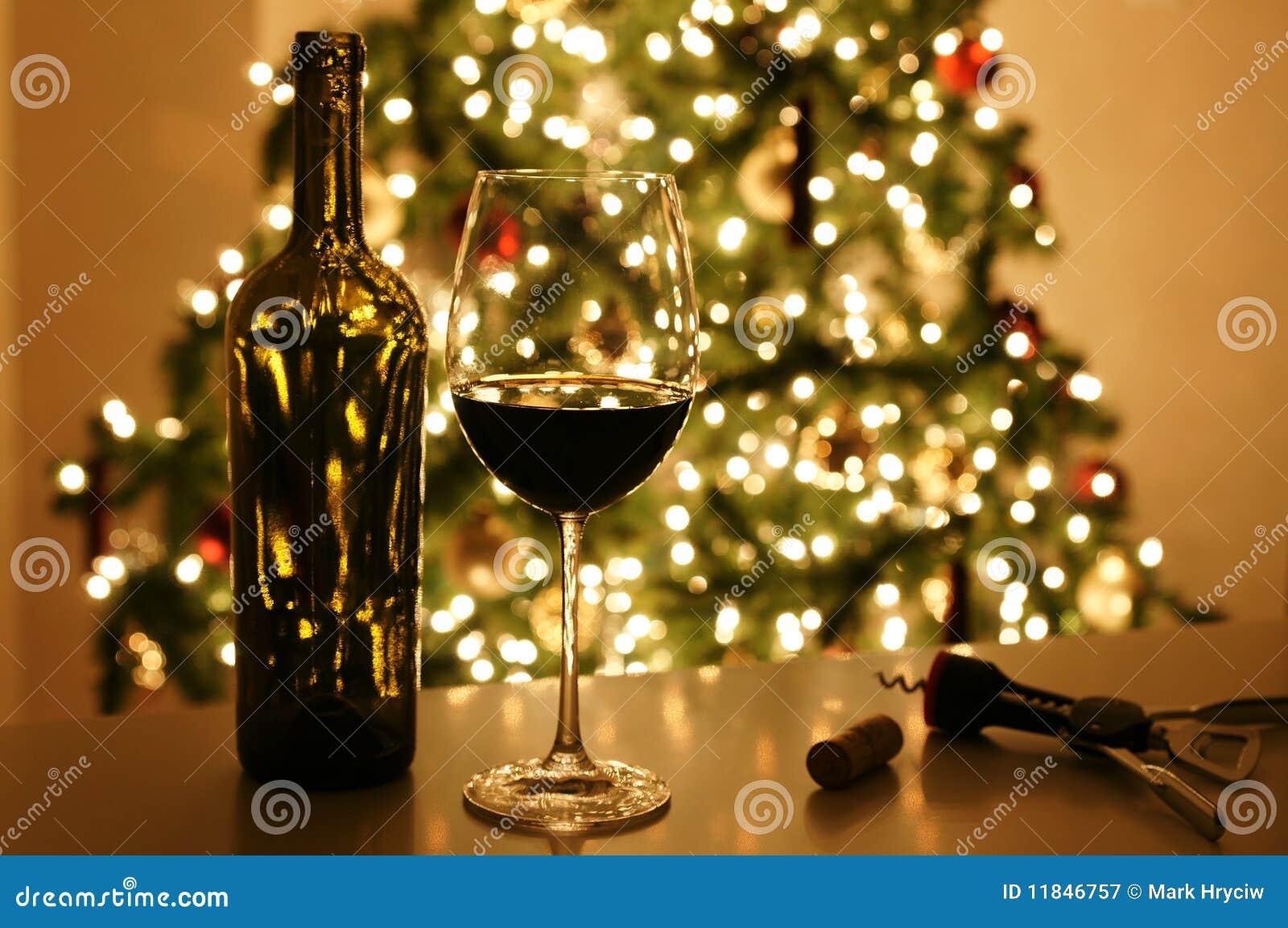 Christmas Xmas Tree Wine Royalty Free Stock Photography