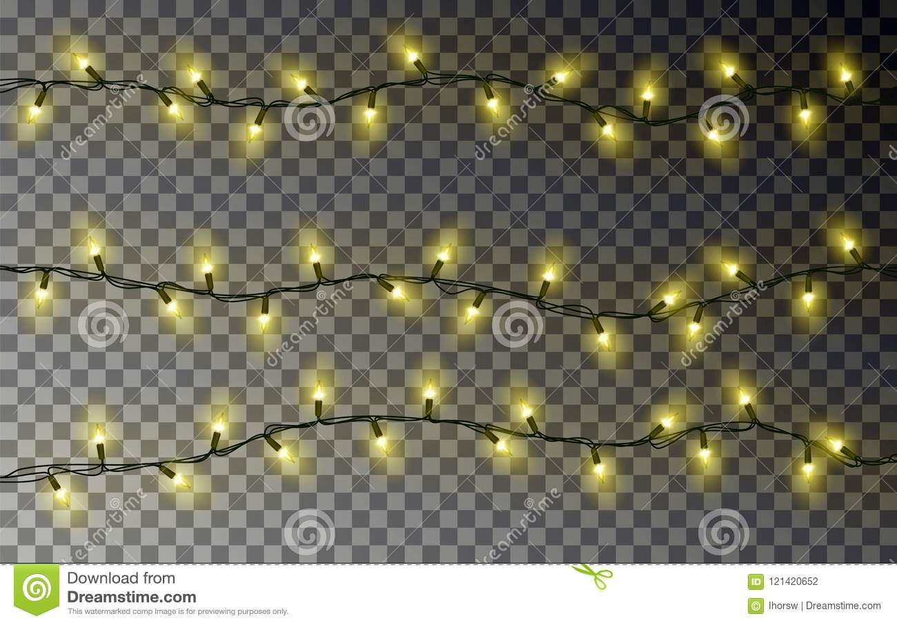 Christmas yellow lights string transparent effect decoration