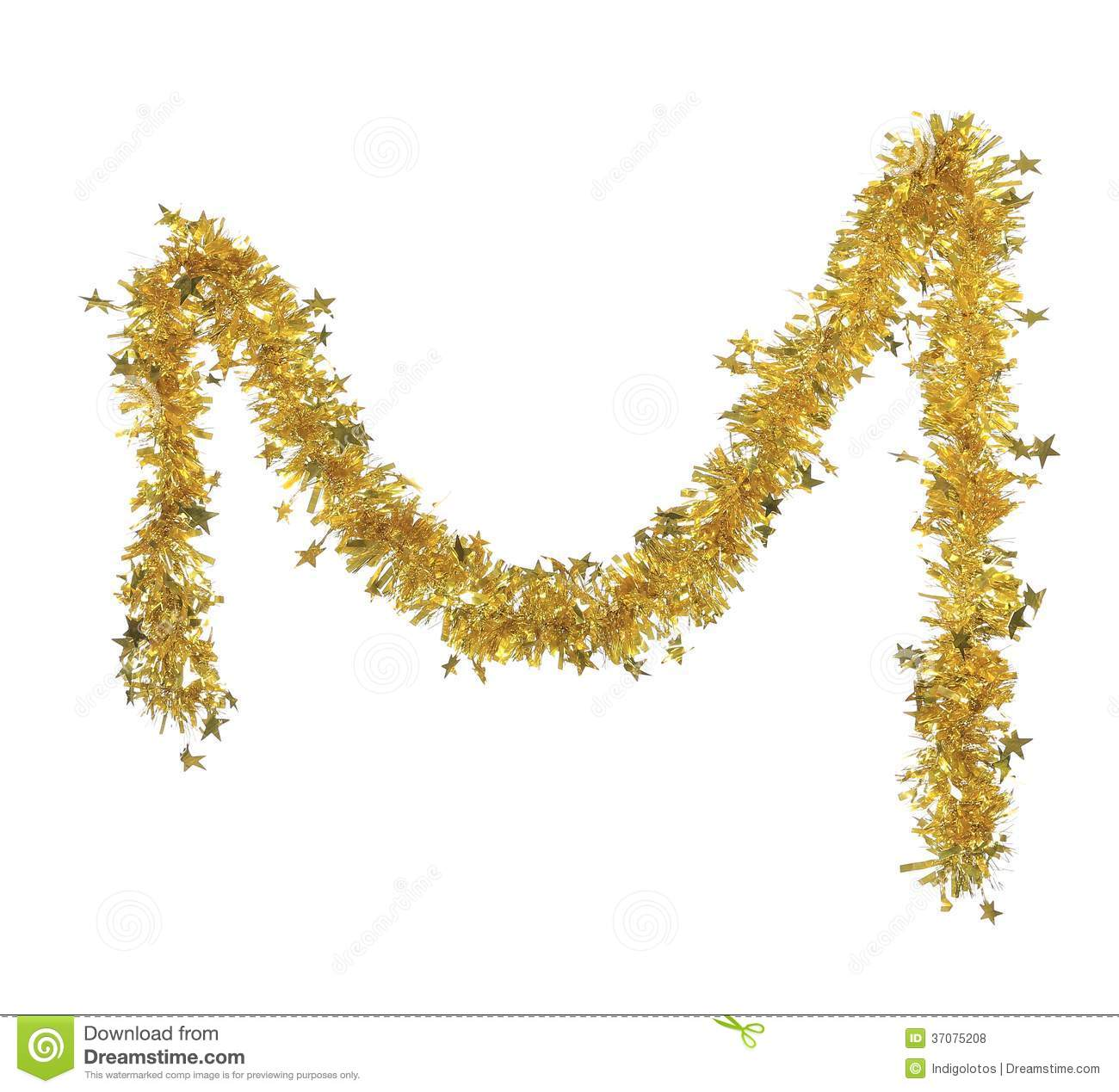 Christmas Tinsel Transparent Background.Christmas Yellow Tinsel With Stars Stock Photo Image Of