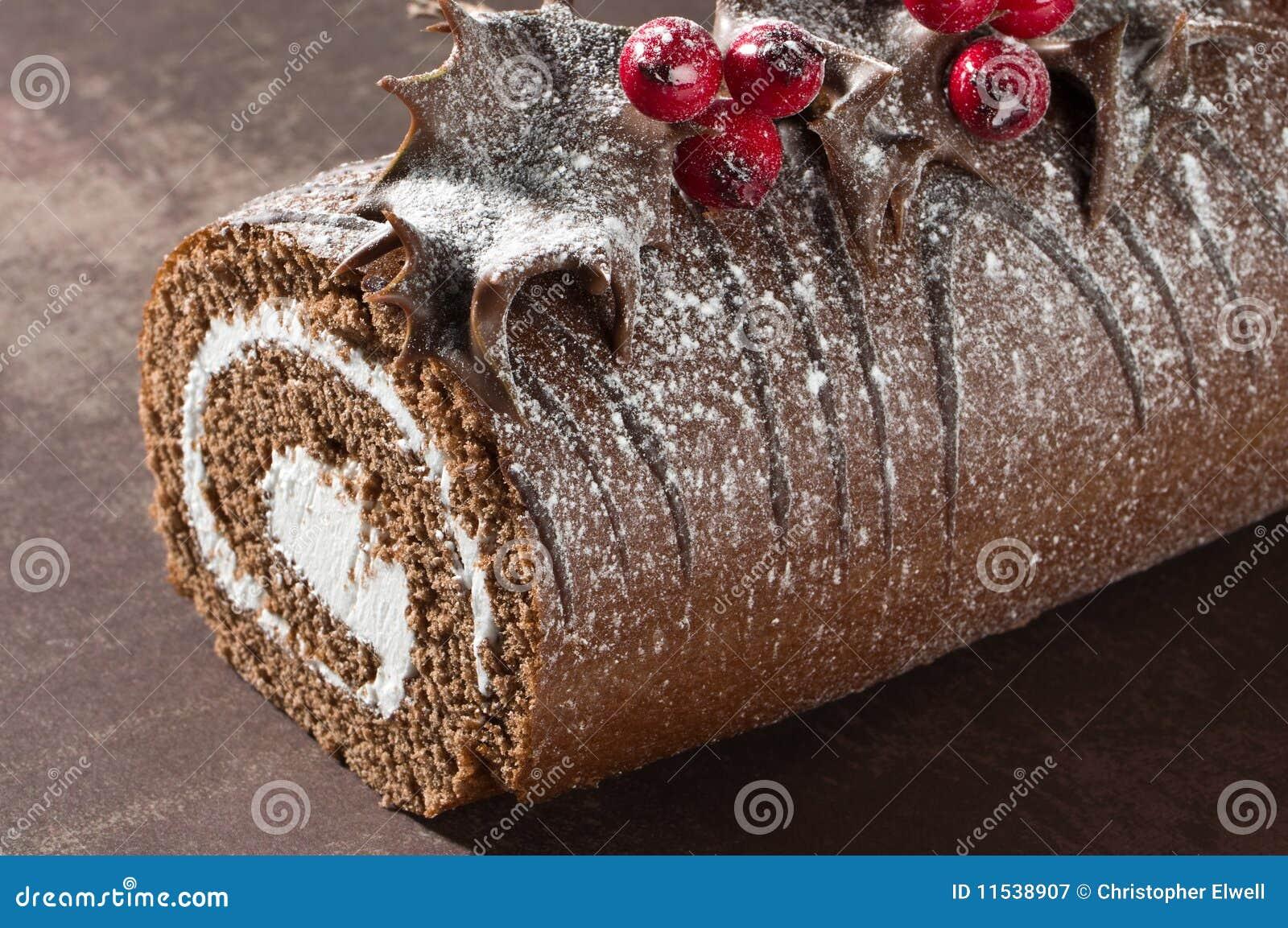 Christmas Yule Log Close Up Royalty Free Stock Photography