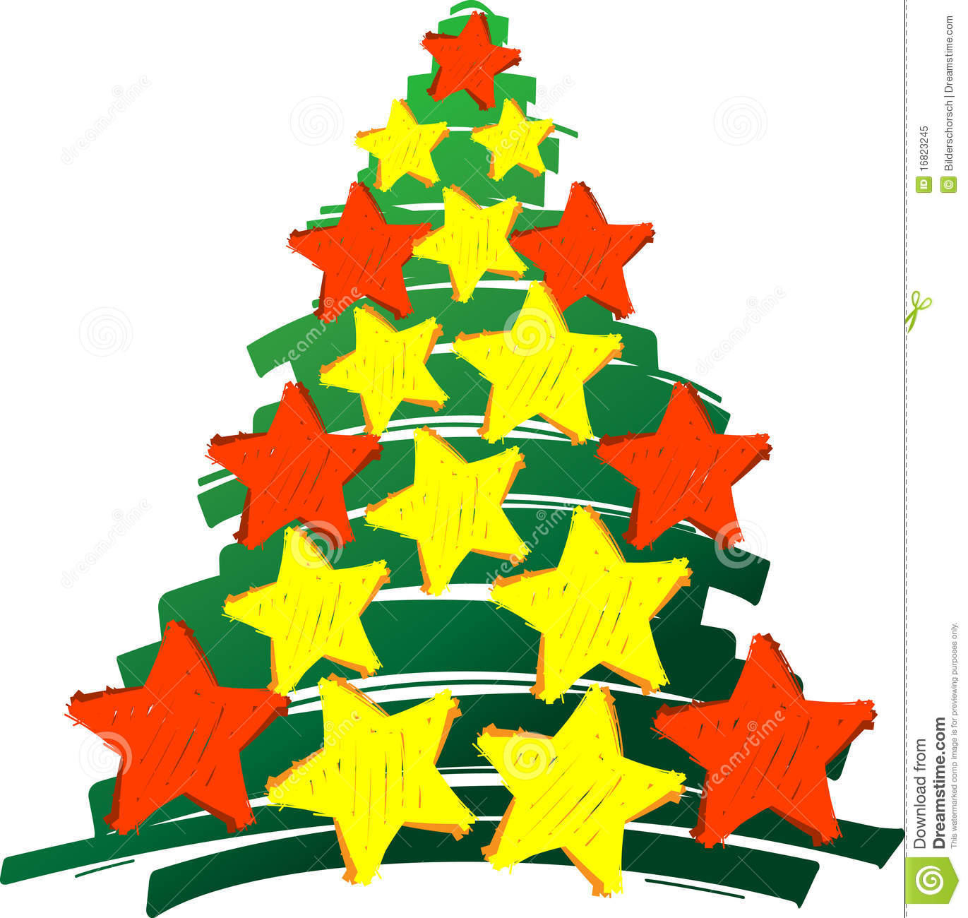 Christmastree stars red and yellow royalty free stock for Red and yellow christmas tree