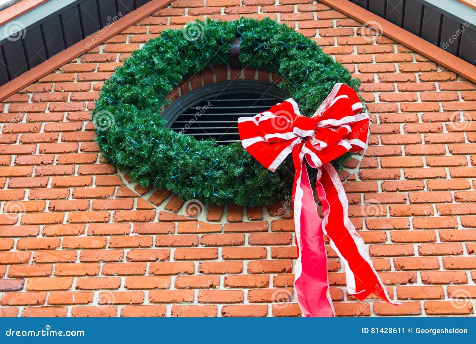 christmaswreath on the brick wall