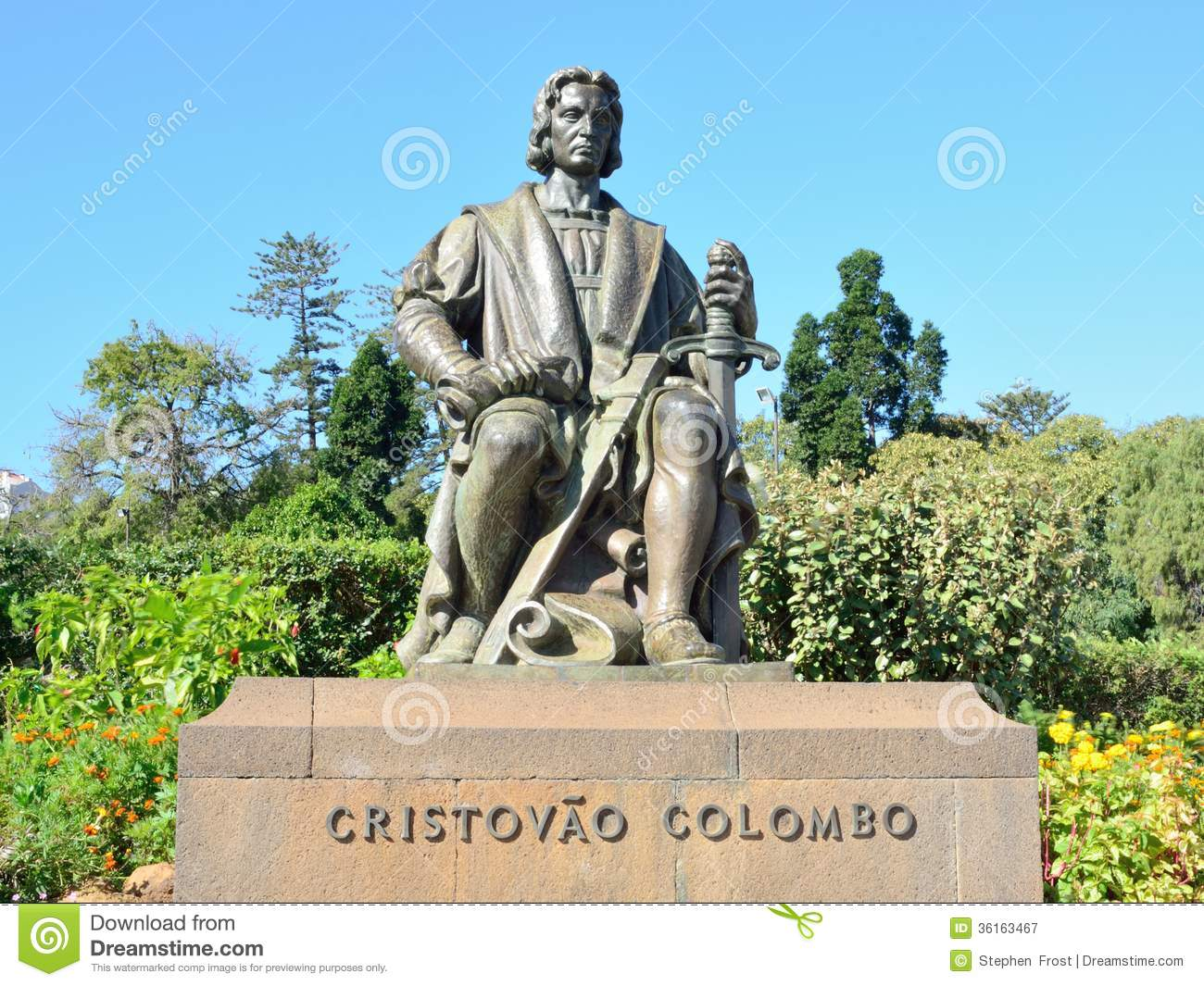 Statue of Christopher Columbus the explorer; photographed in Funchal ...