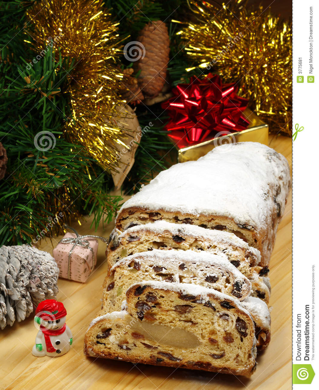 Christstollen Traditional German Christmas Bread Stock