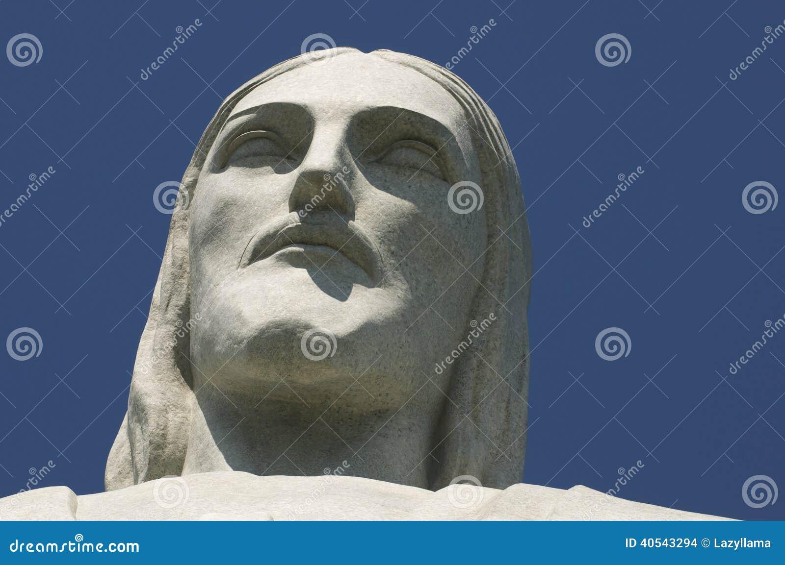 Christus der Erlöser bei Corcovado stellen Nahaufnahme gegenüber