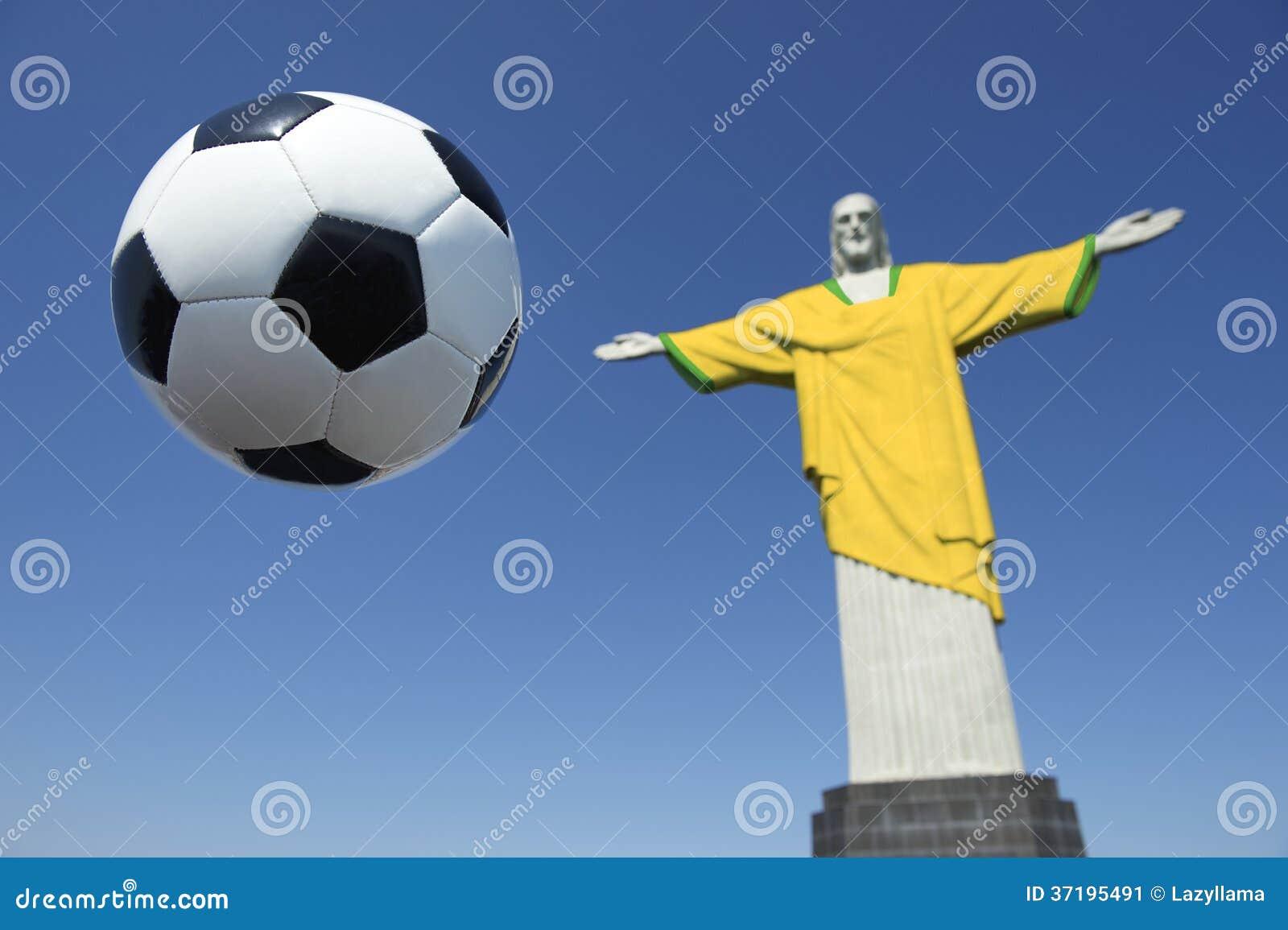 Christus Der Erlöser-brasilianische Fußball Brasilien Färbt Fußball ...