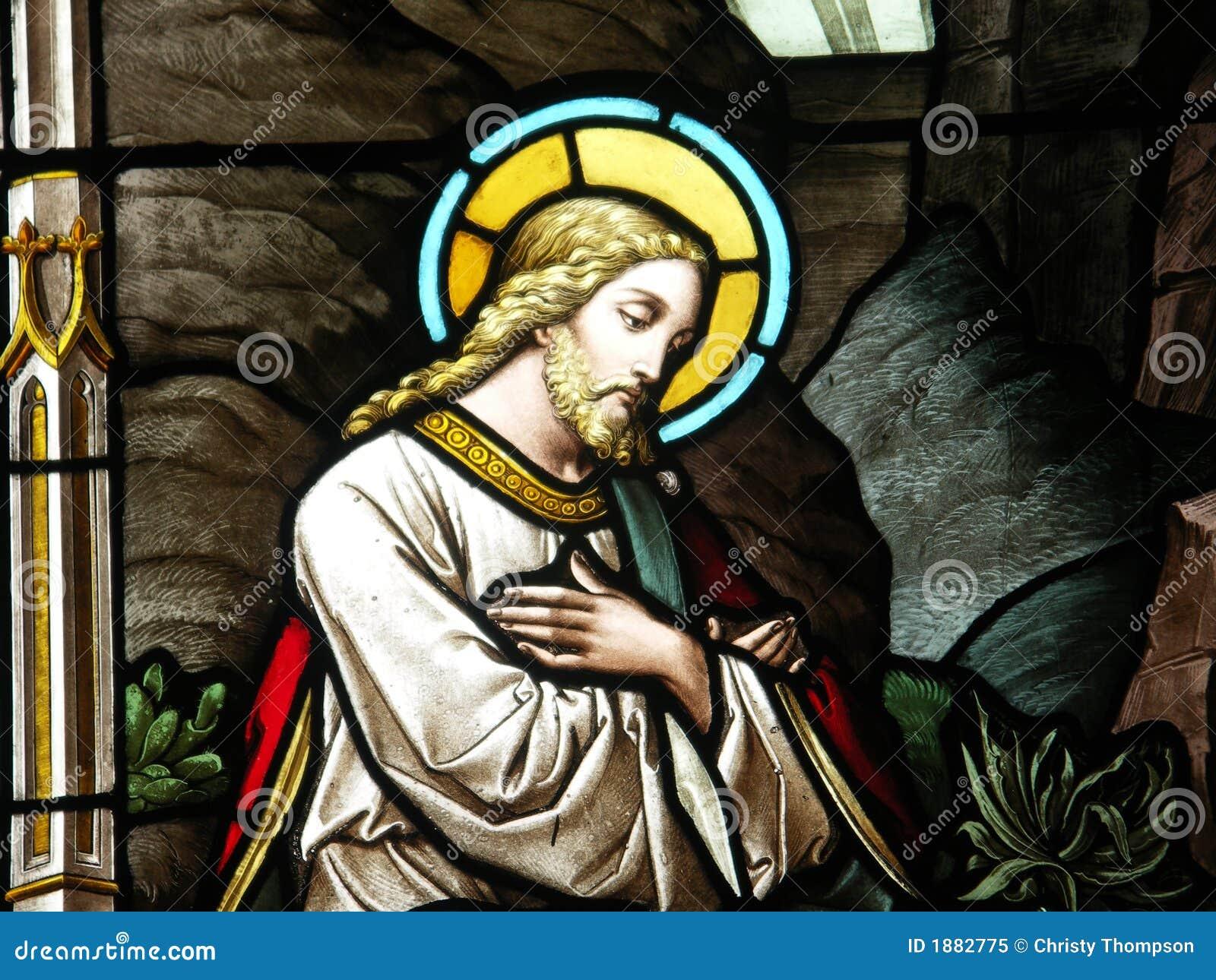 Christus in gebrandschilderd glas