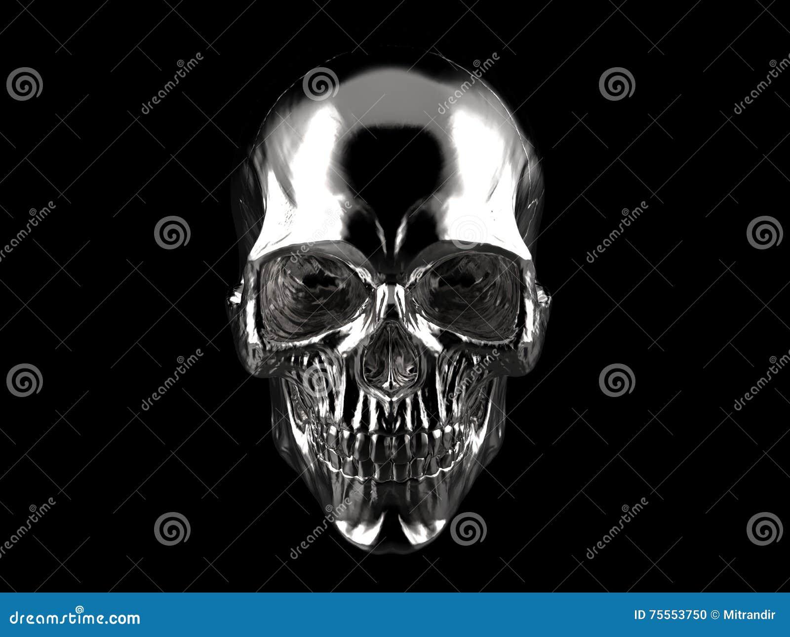 Chrom überzogener Schädel - auf schwarzem Hintergrund